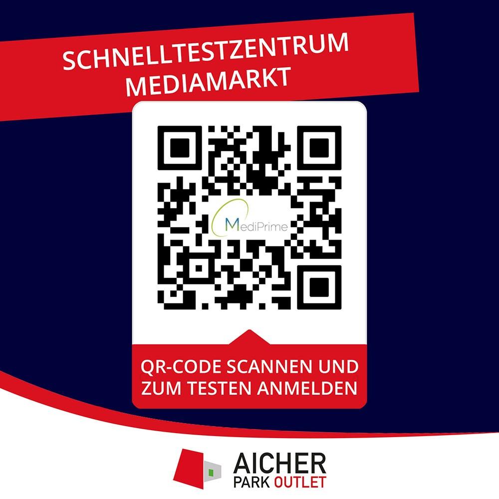QR Code vom Schnelltestzentrum im Mediamarkt